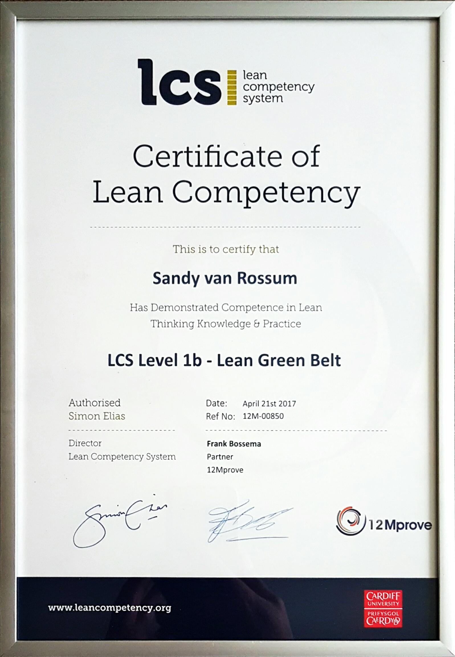 Sandy van Rossum LCS Level 1b Lean Green Belt